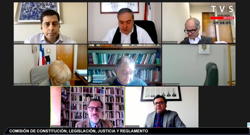 Miembros de la Comisión Constitución, durante la reunión telemática de hoy miércoles.